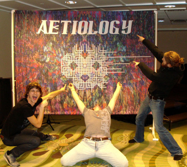 Aetiology Band in Front of their Cool New Backdrop